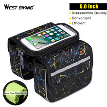 WEST BIKING Bike Front Frame Bag Touch Screen Phone Holder Bags Panniers Bike Accessories Double Pouch Head Top Tube Bicycle Bag