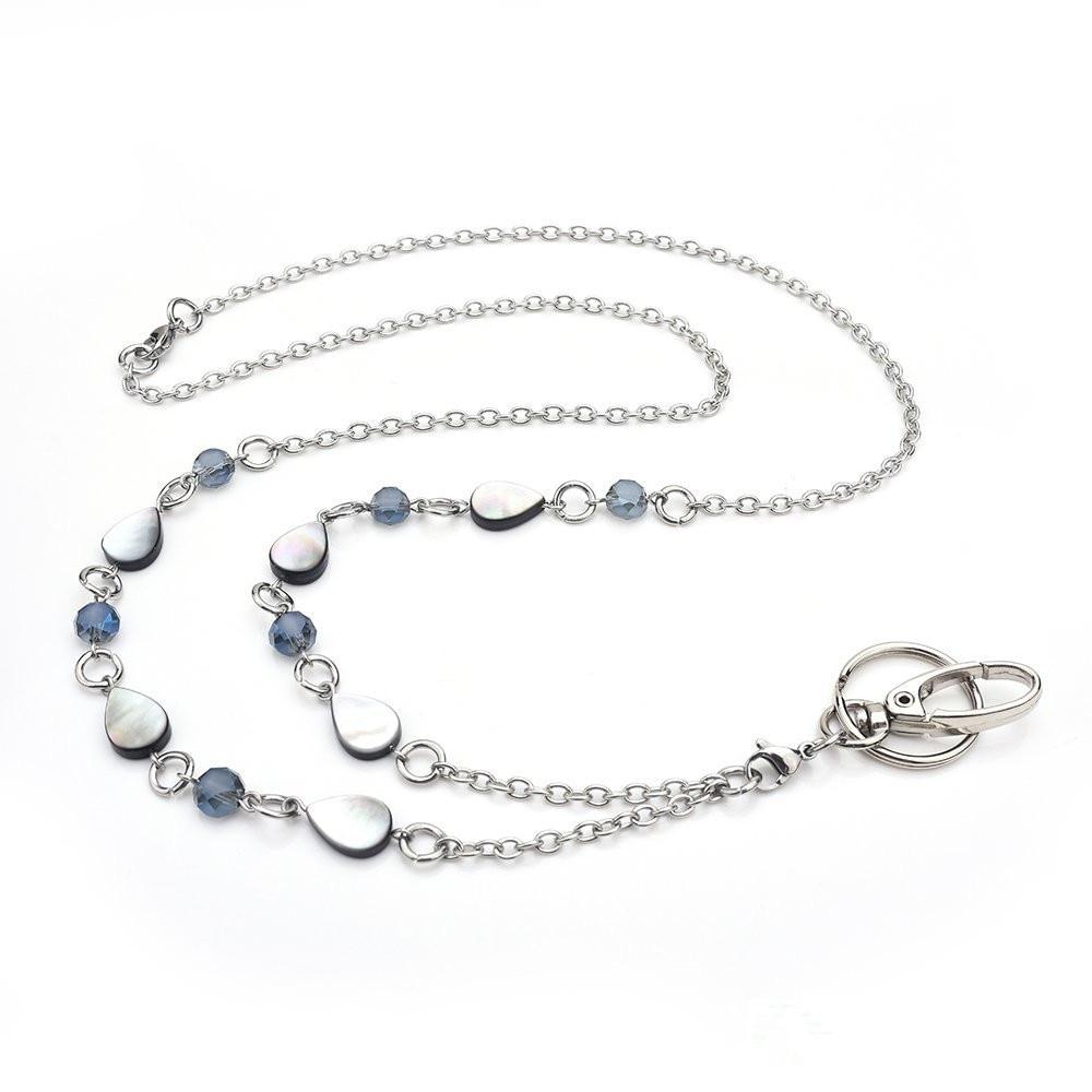New Fashion Lanyard Necklace Blue Crystal beads ID Badge