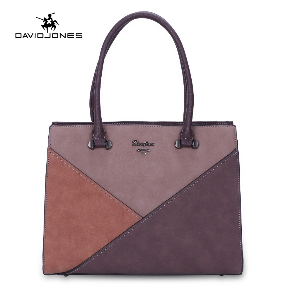 DAVIDJONES women handbag faux leather female shoulder bags large lady patchwork tote bag girl brand messenger