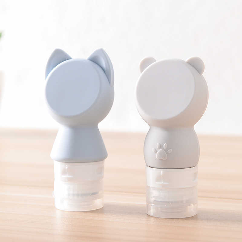 Portable Soap Dispensers Portable cartoon cat silica gel bottle Cosmetic bottle Travel hand soap emulsion bottle small empty