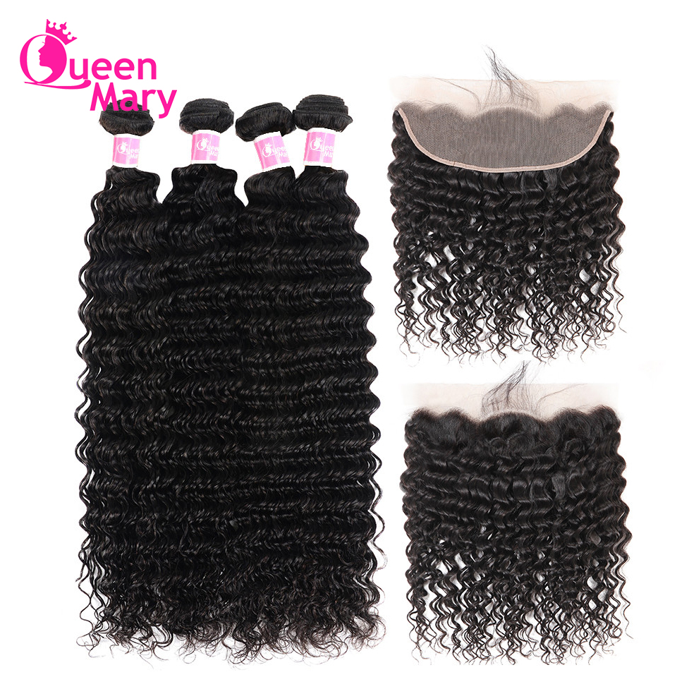 Deep-Wave-Bundles Closure Lace-Frontal Queen Mary-Hair Malaysian with Non-Remy