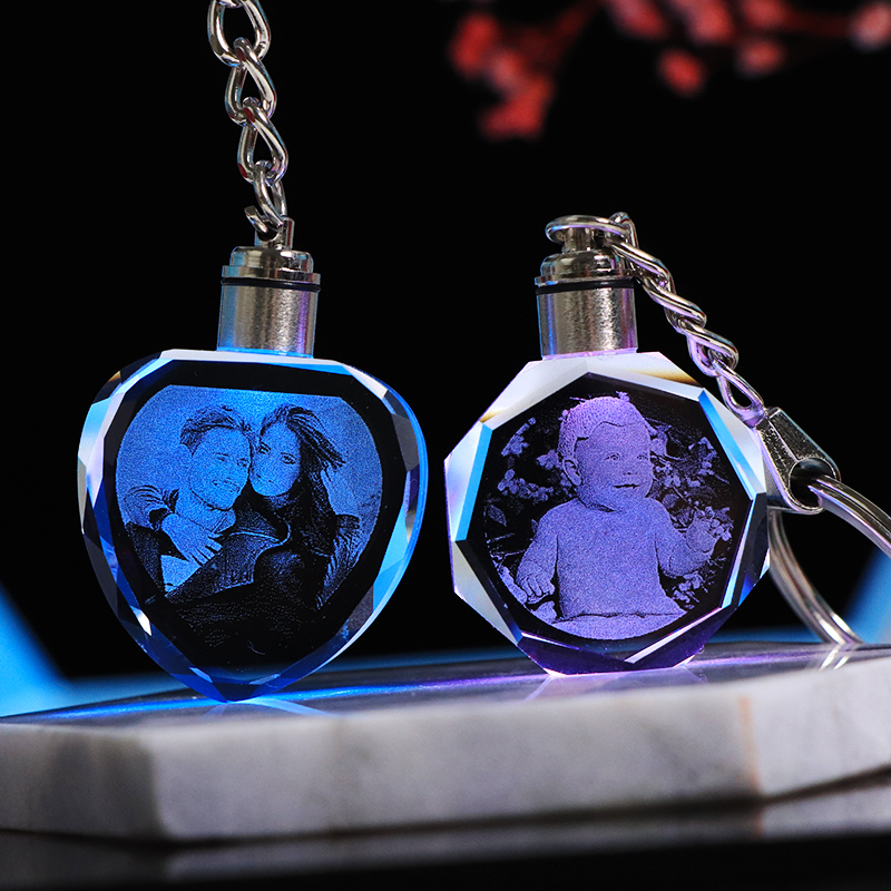 Custom K9 Crystal Key Chain Personalized Photo Pendant Picture Key Ring Trinket Laser Engraved LED Light Keychain Unique Gift(China)