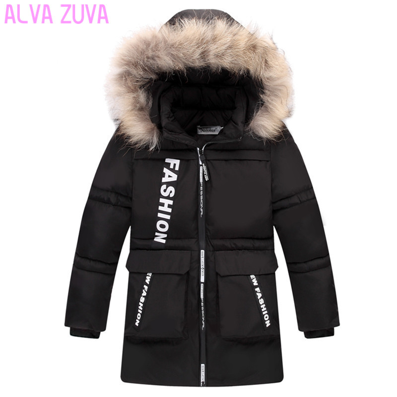 ALVA ZUVA Children Winter Down Jackets Kids Duck Down Padded Coat Big Boys Thickening Warm Outerwear Clt408 цена 2017
