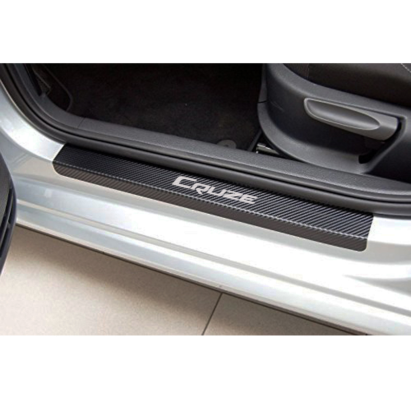 Carbon Fiber Vinyl Sticker Car Door Sill Protector Scuff Plate For CHEVROLET CRUZE Car Accessories high quality car central station mat sticker for chevrolet cruze black 1pcs free shipping kl12329