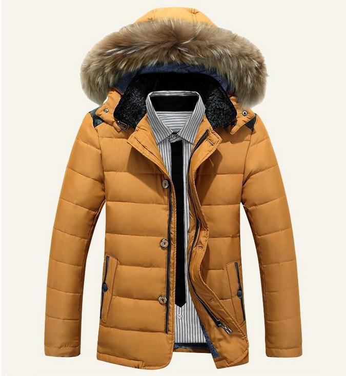 Brand Parka Men Homme 2015 Fashion Big Fur Hooded Design Men's Slim Fit Cotton Down Puffer Jacket Casual Stylish Coat Male 3xl short style parka winter cotton down jacket for men korean big size l 4xl slim fit stand collar man casual coat homme grey e374