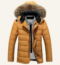 Марка Куртка Мужчины Homme 2015 Мода Большой Меха С Капюшоном Дизайн мужская Slim Fit Хлопок Вниз Скалозуб Куртка Вскользь Стильный Пальто Мужчина 3xl