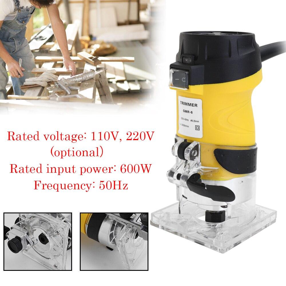 Multifonctionnel pratique 600 W 30000r/min ABS tondeuse électrique bois routeur 6.35mm travail du bois coupe coupe outils électriques - 6