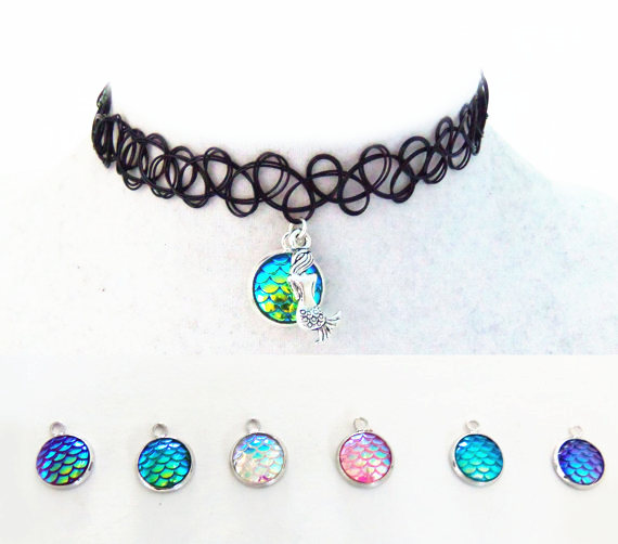 10pcs a lot metal mermaid black rope colorful rainbow resin charm one hole dragon mermaid Pendant lace Necklace For Girls gift