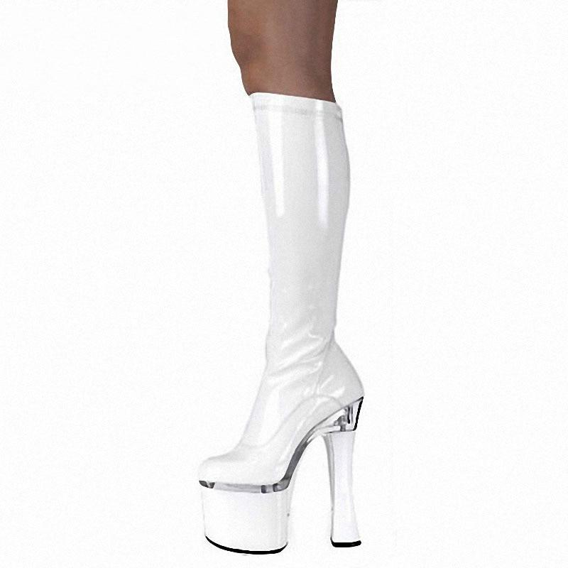 18CM Thick Heel Patent Leather Long Boots Women Platform Slim Leg Strange Heel Botas Sexy Model Pole Dance Shoes Fashion Show