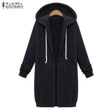 Oversized 2019 Autumn ZANZEA Women Casual Long Hoodies Sweatshirt Coat Pockets Zip Up Outerwear Hooded Jacket