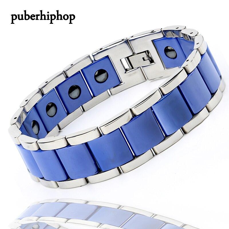 New Men Bracelet Energy Health Magnetic Bracelets For Man Blue Black Ceramic Stainless Steel Bracelet & Bangles Charm Jewelry цена