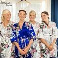 Noiva Do Casamento Da Dama de honra de Cetim de seda Robe Kimono Floral Roupão Curto Robe Noite Robe Roupão De Banho Roupão Para As Mulheres Da Moda