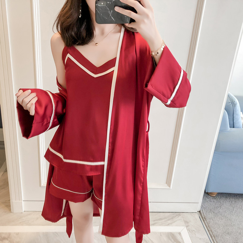 2019 Summer Women   Pajamas     Sets   Ladies Pijama Satin Silk Pyjama Women Sleepwear Women's   Pajamas   Sexy 3 Pieces with Shorts
