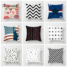 Fuwatacchi Geometric Cushion Cover Cross White and Black Stripe Pillow Cover For Home Bedroom Sofa Decor Pillowcase 45cm*45cm fuwatacchi home decor cartoon cushion cover cute stick figure couple image pillow cover for car sofa pillowcase 45cm 45cm