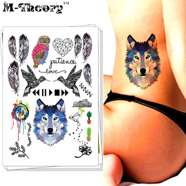 M-theory Sexy Temporary Makeup Tattoos Body Arts Wolf Birds Flash Tatoos Tatuagem Stickers 21x15cm Swimsuit Bikini Makeup Tools