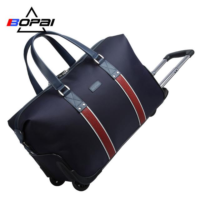 fe0254bce6 Hot BOPAI Waterproof Trolley Bags for Women and Men Travelling Bag Rolling  Luggage Big Capacity Fashionable Duffle Bags