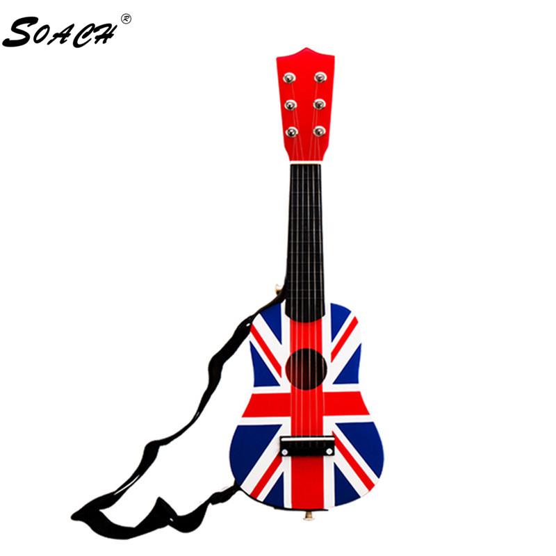 SOACH 21inch wood Bass ukulele guitar 6 strings + Black Strap Play paddle Child Guitar T ...