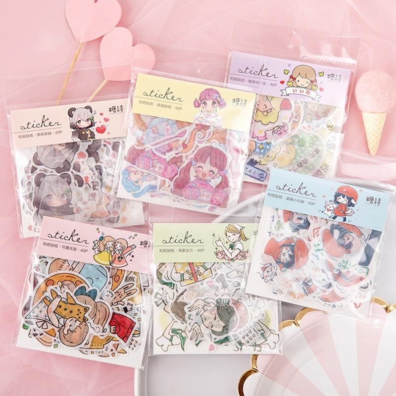 40pcs/Pack Japanese Cartoon Sticker Scrapbooking Kawaii Girl Creative Diy Journal Decorative Adhesive Label Stationery Supplies