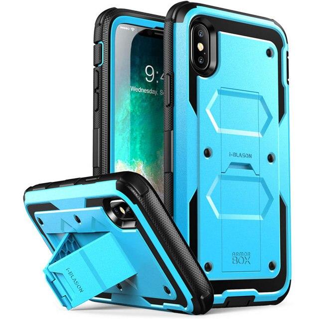 Için iphone X Xs Kılıf i Blason Armorbox Tam Vücut Ağır Şok Azaltma Kapak ile inşa Temperli cam Ekran Koruyucu