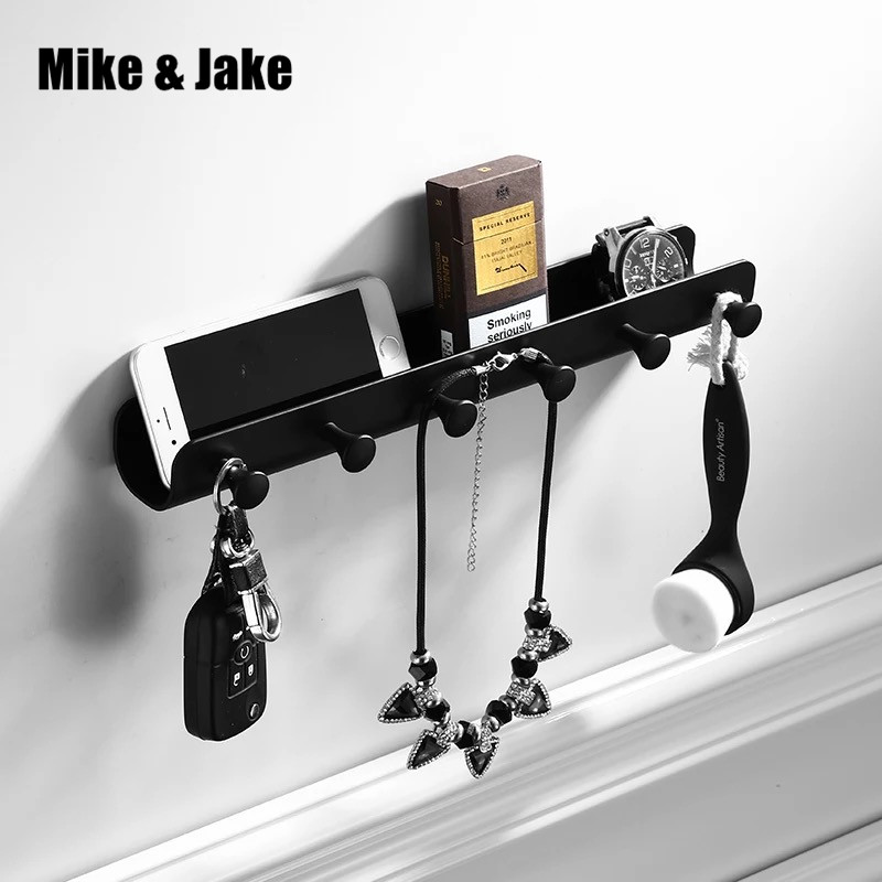 Black wall hook black cloth shelf aluminum bathroom corner shelf key holder bathroom raw basket bathroom accessories MH8515B