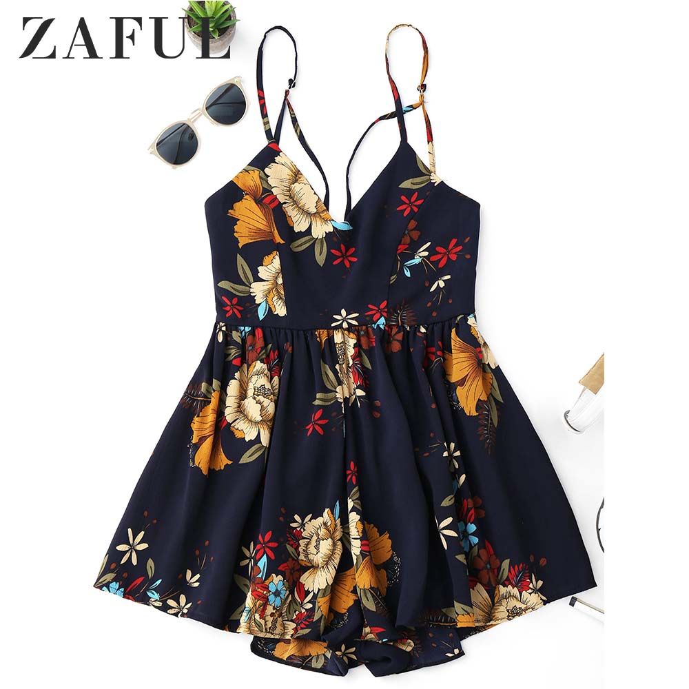 ZAFUL Criss Cross Floral Cami Romper Boho Beach Women Playsuits 2018 New Summer Casual Cami Rompers   Jumpsuits   Ladies Overalls