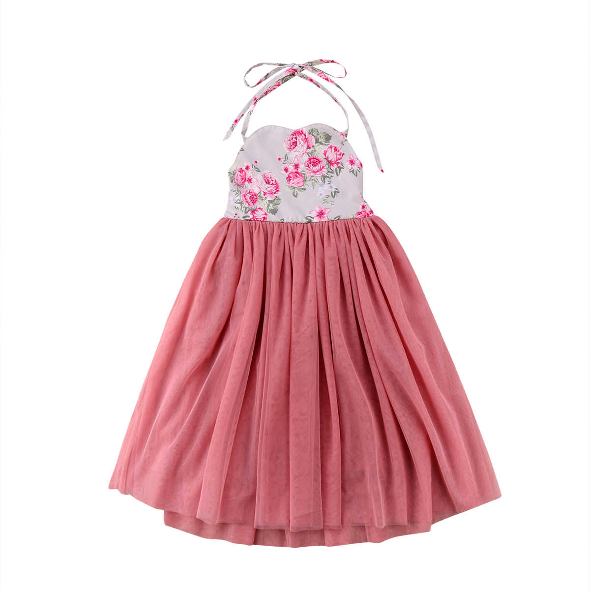 Flower Girls strap  sleeveless Dress Kids Baby Solid Lace Long Dress Party  Dresses
