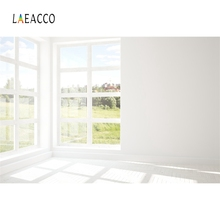 Laeacco White Backgrounds Gray Wall French Window Sunshine Grass Interior Scenic Photography Backdrops Photocall Photo Studio