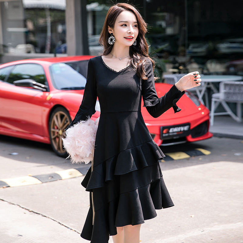 Fashion Ladies Plus Size Elegant Dress Ruffled hem Asymmetrical Dress Irregular Cultivated sexy party Dress midi