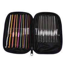22 stks/set Haaknaald Set Aluminium Breien Naalden Knit Weave Craft met Tas DIY Craft Multi-Colour Haaknaalden(China)