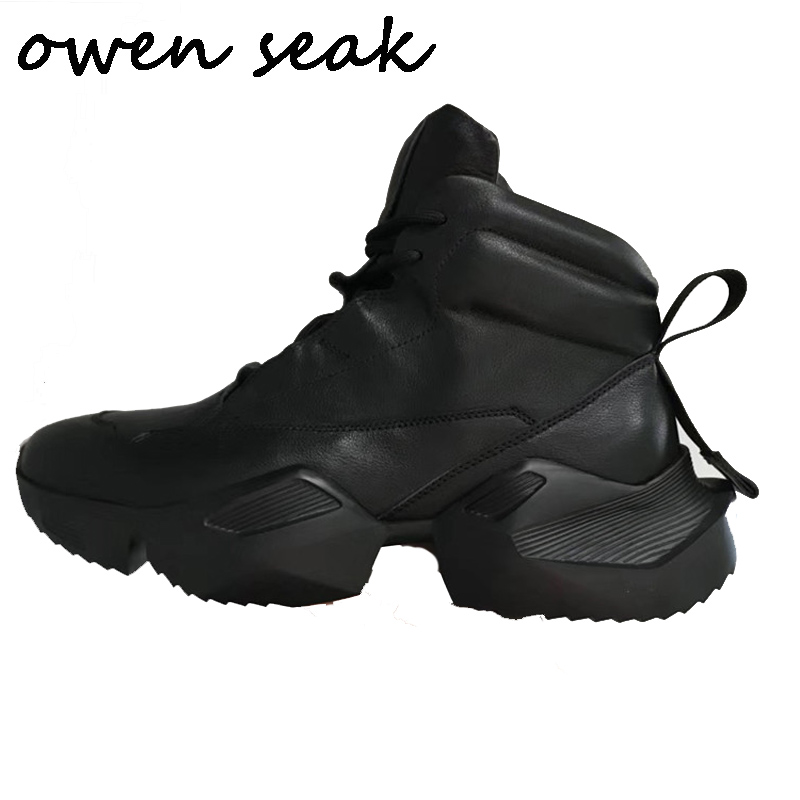Owen Seak Men Ankle Boots Genuine Leather Height Increasing Luxury Lace Up Trainers Snow Boots Casual