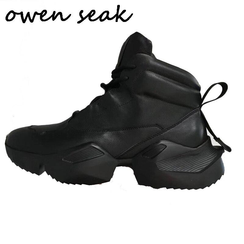 Owen Seak Bottines En Cuir Véritable Hauteur Augmentant De Luxe à lacets Formateurs Bottes de Neige décontracté Ballerines Noir Blanc Chaussures    1