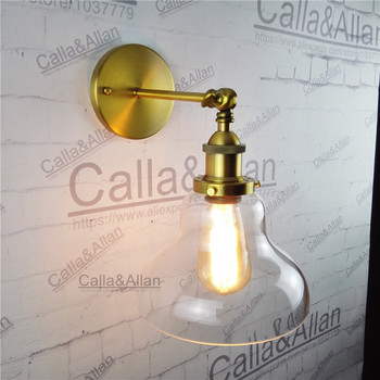Amber glass cup lampshade brass holder wall loft light E27 AC110V/220V beside sconce antique brass wall lamp industrial