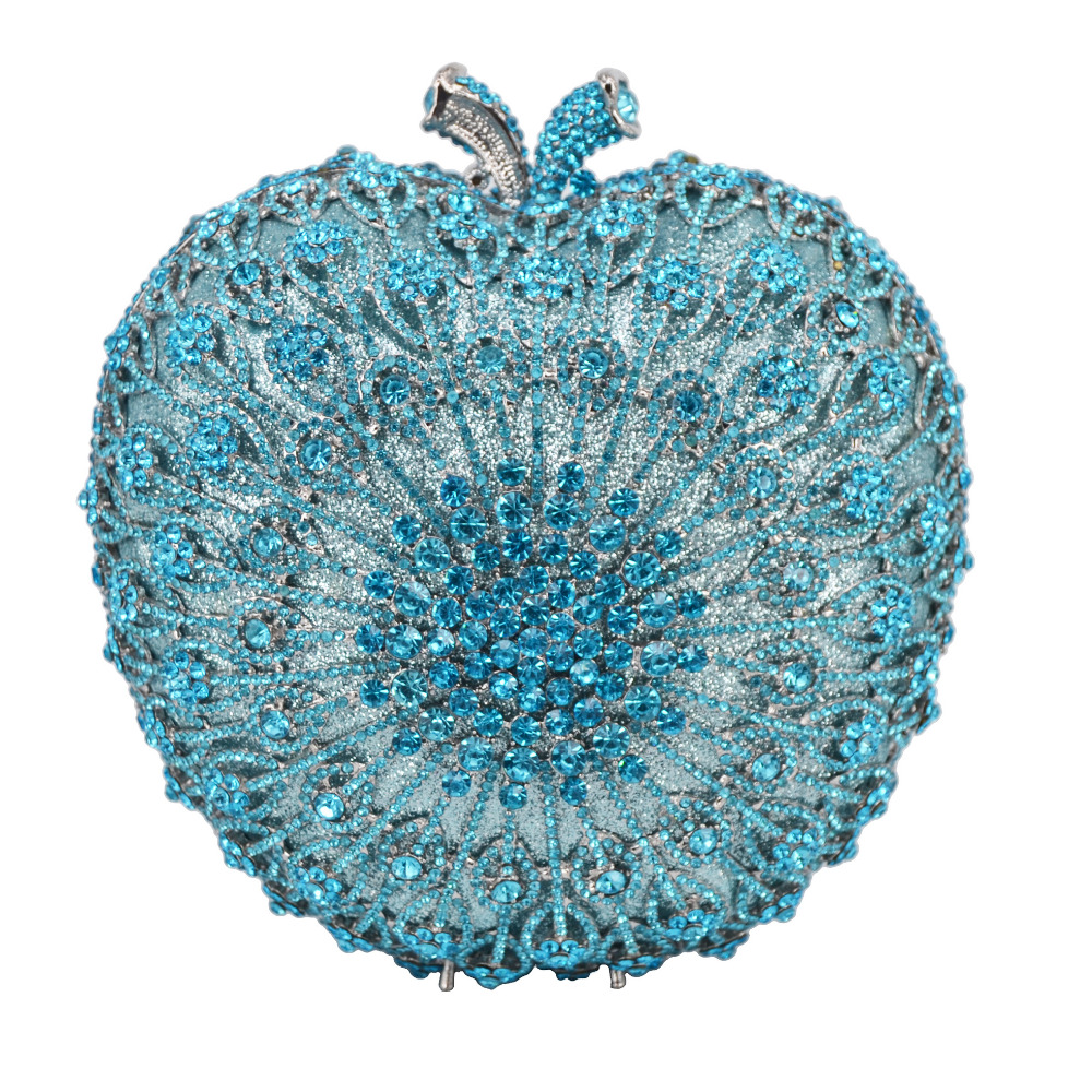 light Blue Crystal Purse Diamond Rhinestone Luxury Bag Apple Shape Designer Women bridal Wedding Party pouch