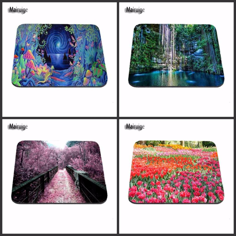 NO Overlock Mousepad waterfall Little Flowers Gorgeous Beauty Hot Sale Personalized Mat 180X220X2MM 250X290X2MM Mouse Pad