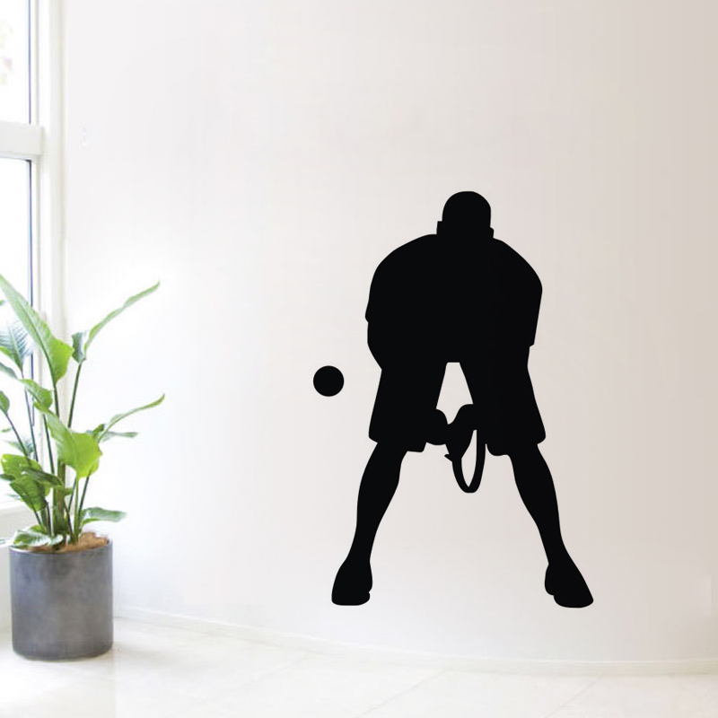 Vinyl Art Wall Stickers Home Decoration Living Room Male Tennis Player Wall Decal DIY Removable Wall Mural