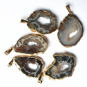 Image 3 - טבעי ברזילאי Electroplated זהב צבע קצוות פרוסה פתוח Agates Geode Drusy Druzys תליוני שרשרת נשים תכשיטי ביצוע