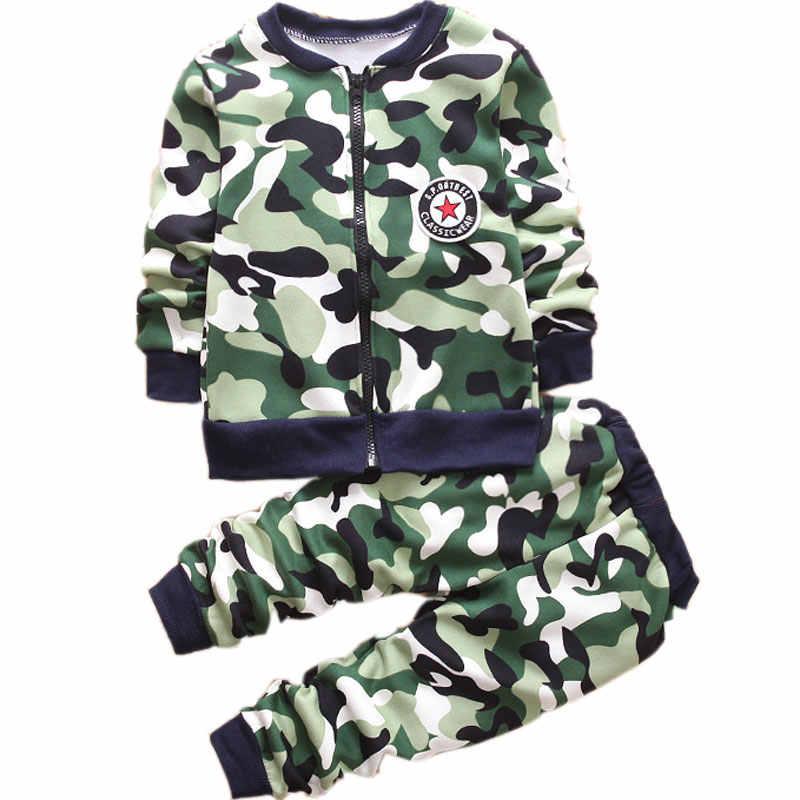 Шерстяной теплый повседневный костюм для мальчиков и девочек верхняя одежда для малышей, куртка спортивные штаны, Детский милый модный Камуфляжный комплект, От 1 до 5 лет, детская одежда