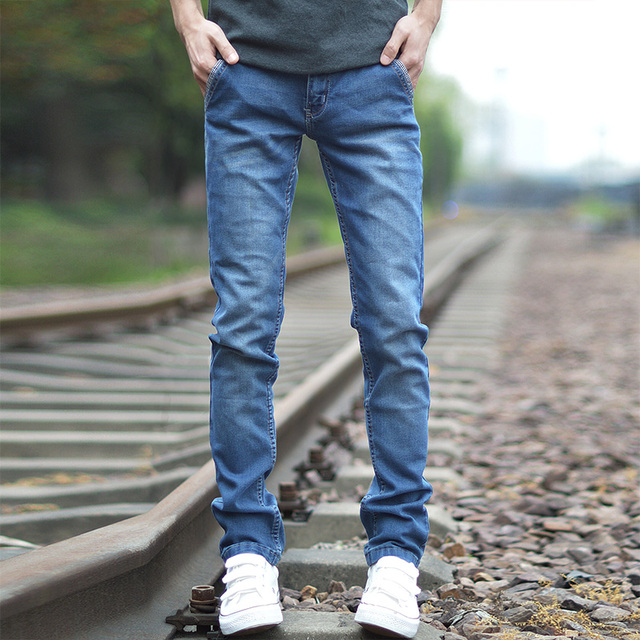 7589a56df7d Korean Style Denim Jeans Men Pants Classic Blue Mens Skinny Jeans Homme  Casual Slim Fit Solid Straight Male Trousers Jean Pant