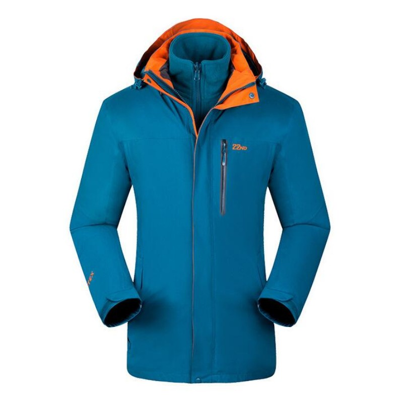 HIGH QUALITY Outdoor Men Hiking Jacket Two Pieces Warm Ski Outwear For Tourism Fleece Patchwork Mens Windbreakers Thermal Jacket