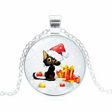 2019 New Hot Christmas Funny Cat Necklace Trendy Glass Dome Funny Christmas Gift Pendant Jewelry for Children silver bronze(China)