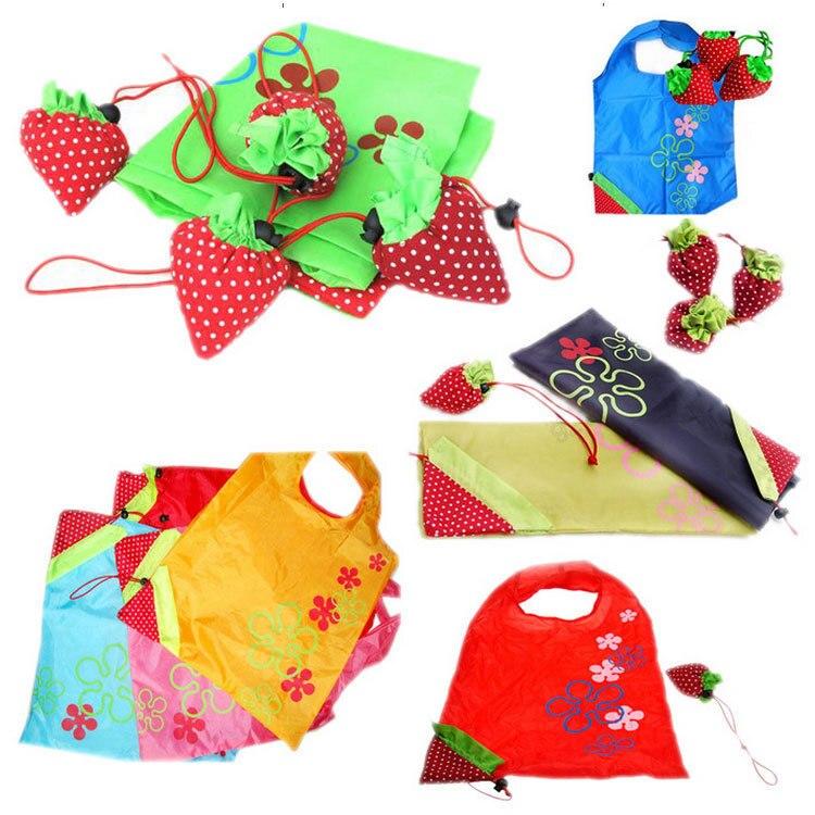 500 stücke Tragbare Nette Eco Wiederverwendbare Speicher paket Tote Folding Faltbare Erdbeere Tasche hause-in Faltbare Taschen aus Heim und Garten bei  Gruppe 1