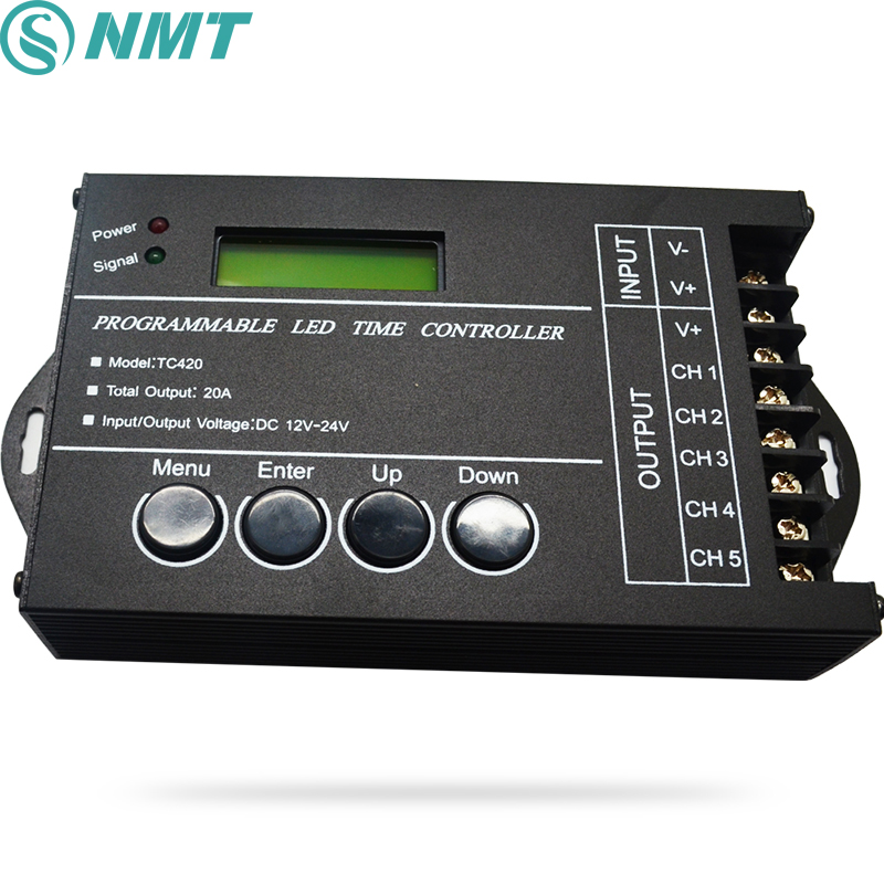 TC420 Time programmable RGB LED Controller DC12V-24V 5Channel LED Timing dimmer Total Output 20A Common Anode with USB Wire led amplifier dc12v 24v lt 3637 common anode to common cathode led power repeater controller for rgb led module