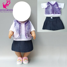 "clothes for 43cm baby Doll coat Fur vest shirt jeans dress 18"" girls doll winter outwear bebe doll clothes(China)"