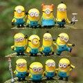 12pcs/set BOHS Despicable Me  3d Glasses Stuart Kevin Bob Assorted Set  Small Yellow   Doll Gifts Anime Action Figure 3-4CM