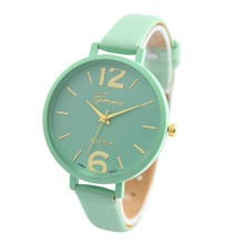 relogio masculino erkek kol saati reloj mujer Geneva Ladies Fake Leather-based Analog Quartz Wrist Watch 2016 New Design sep26