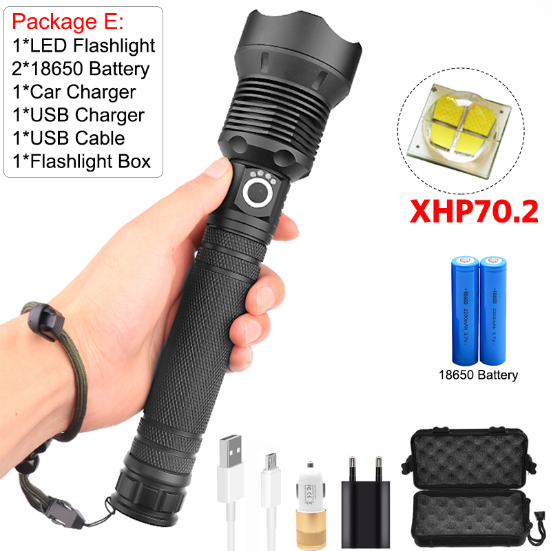 USB Rechargeable 50000LM T6 LED Flashlight Bright Lamp Zoomable Hiking Torch