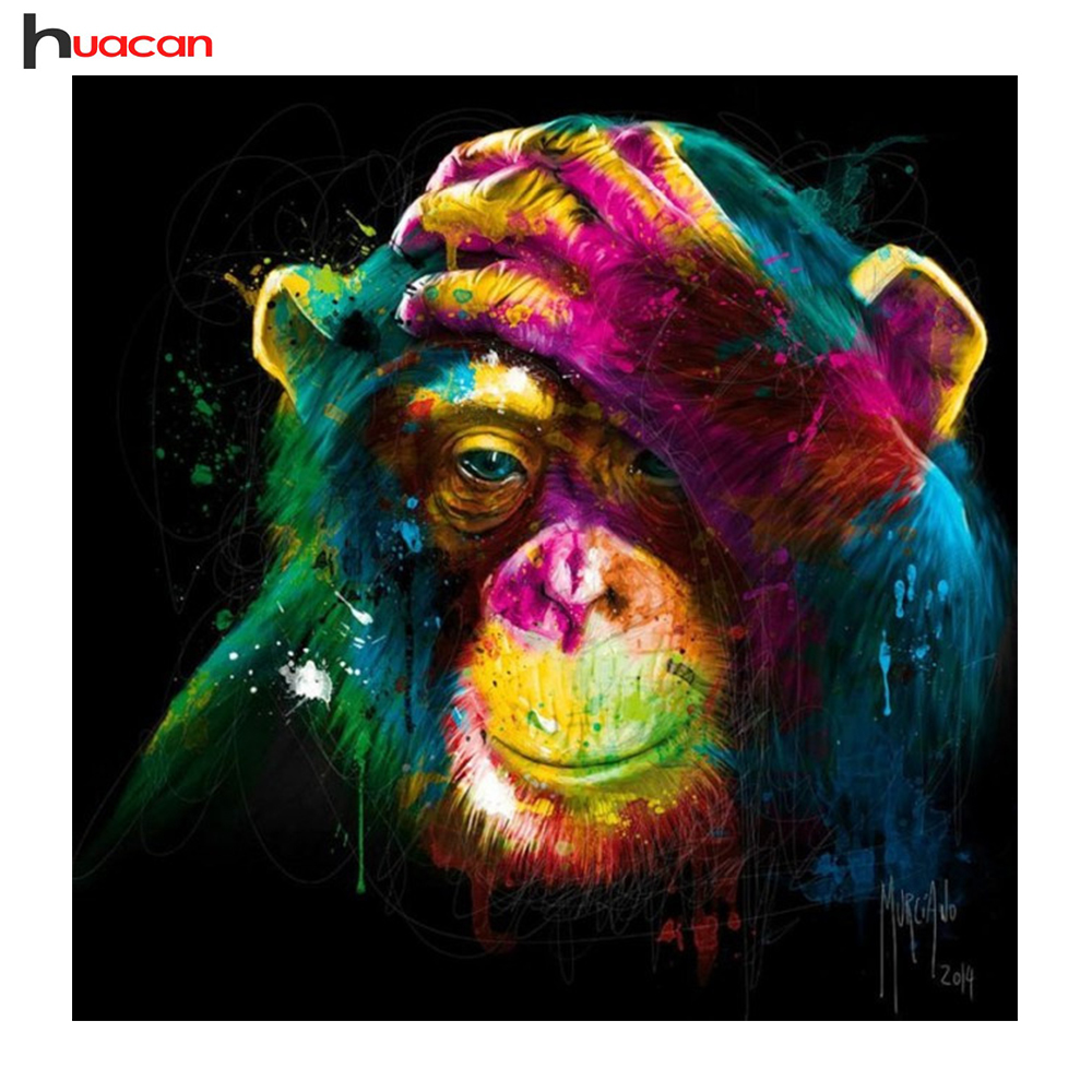 HUACAN DIY Colour Monkey Diamond Embroidery Living Room Decor Gift Full Resin Diamond Mosaic Kits Patterns Rhinestone F1764
