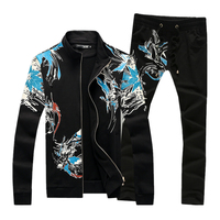 High Quality Men's Sets Large Size S 5XL Cotton 95% Men Flower Jackets & Drawstring Trousers Black and White Can Choose