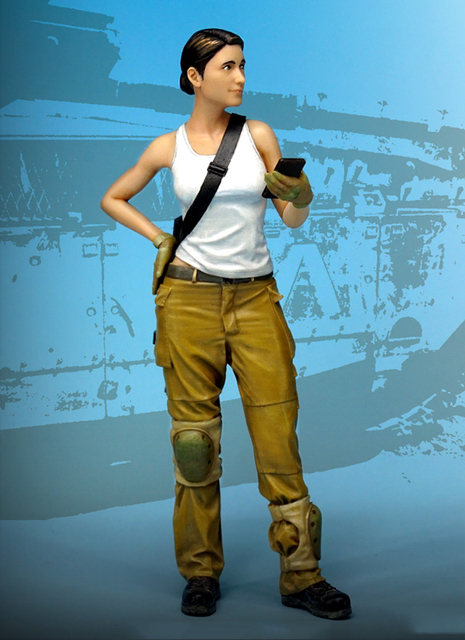 Free Shipping 1/35 Scale Unpainted Resin Figure modern female IDF soldier collection figure