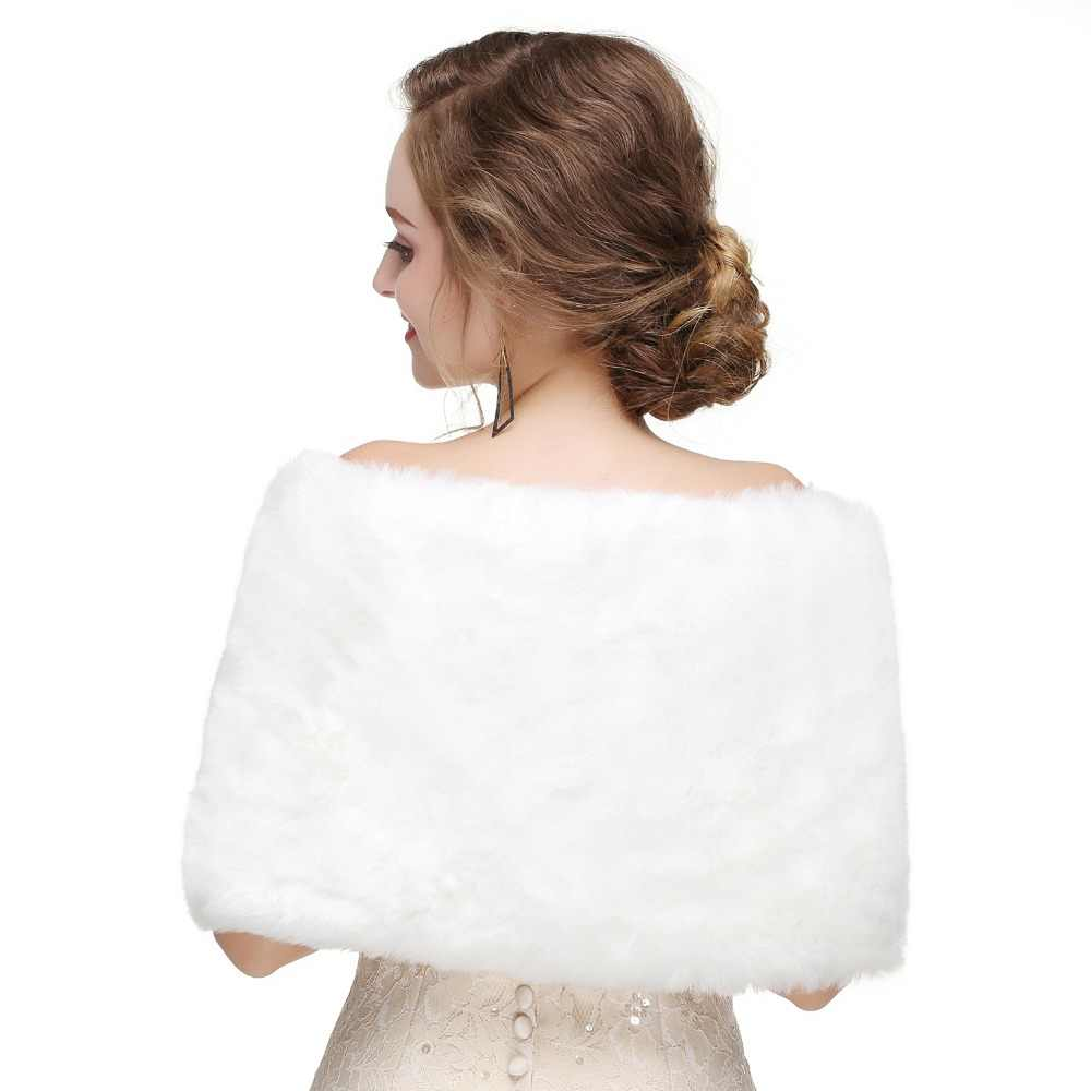 Forevergracedress 2019 Elegan Lembut Musim Gugur Musim Dingin Bulu Imitasi Pengantin Pernikahan Membungkus Bolero Jaket Bridal Mantel Selendang PJ470